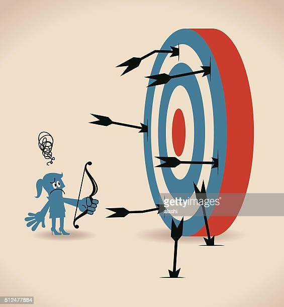 ilustraciones, imágenes clip art, dibujos animados e iconos de stock de depresión mujer de negocios de tiro con arco y flecha, flechas faltante blanco - madre trabajadora