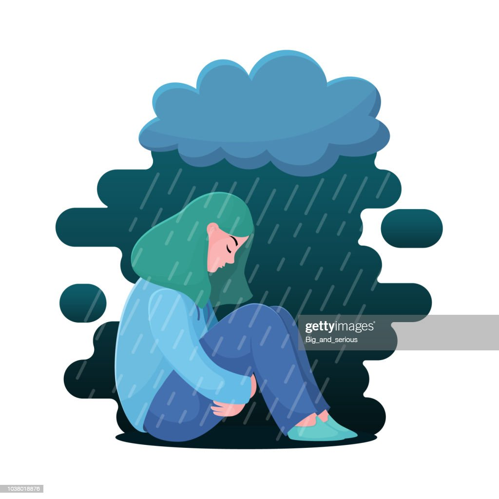 Depressed girl, woman sitting under rain cloud