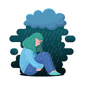 Depressed girl, woman sitting under rain cloud