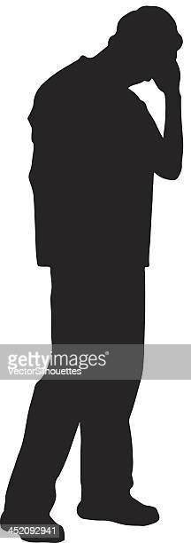 Depressed man silhouette