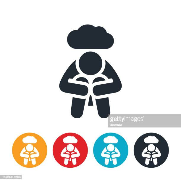 depressed person icon - emotional stress stock illustrations