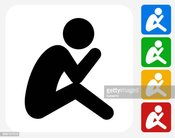 depressed stick figure icon flat graphic design - crouching stock illustrations, clip art, cartoons, & icons