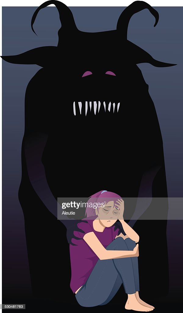 Depressed teenage girl and a monster
