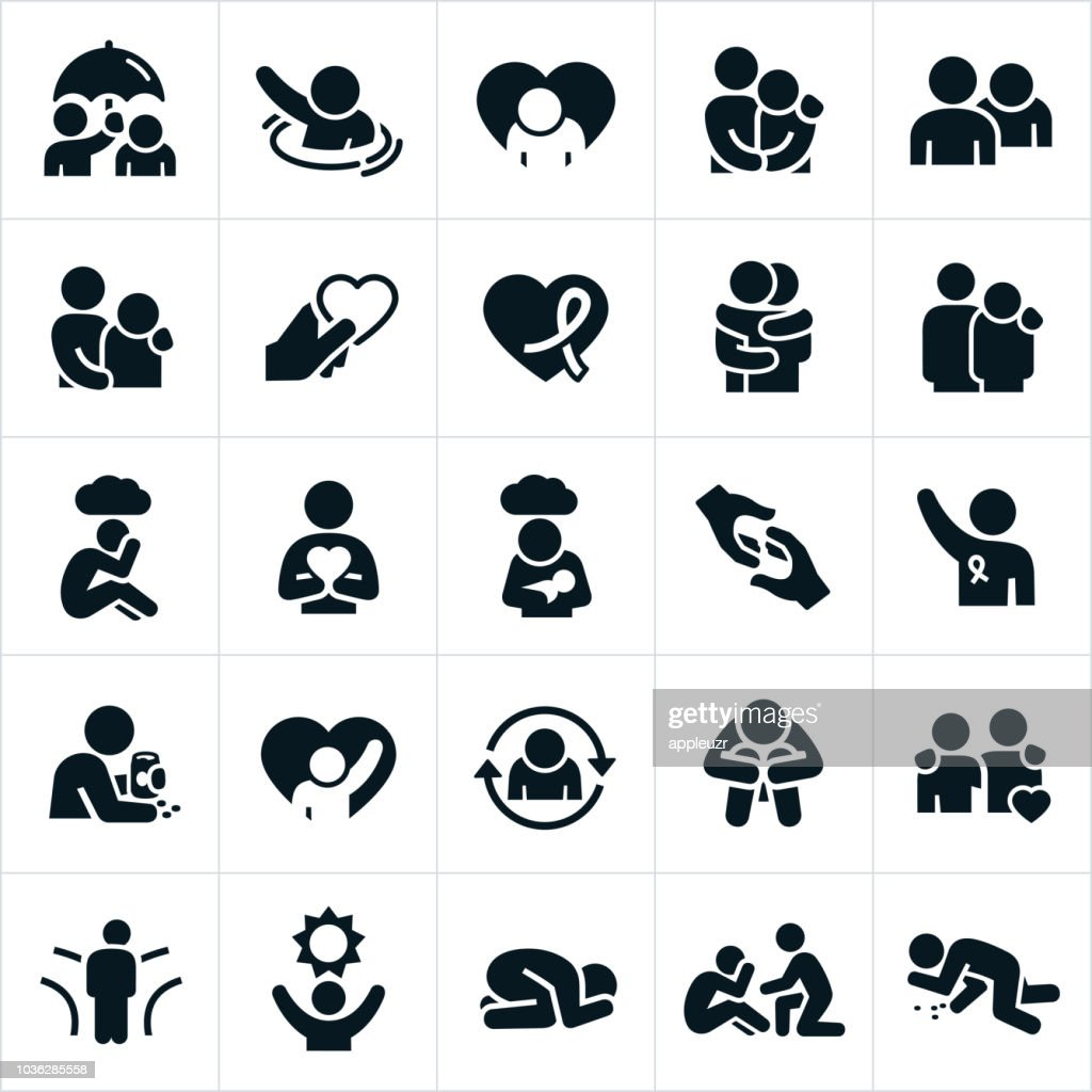 Depression and Anxiety Icons : stock illustration