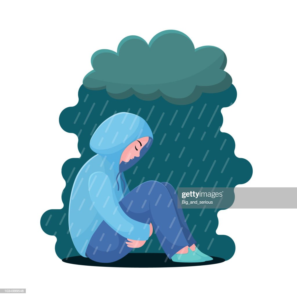 Depression, girl in hoodie sitting under rain