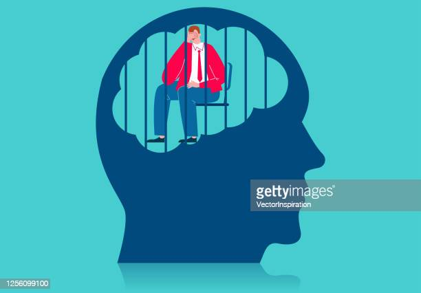 depression, sad man crying sitting in a cage in the brain - forbidden stock illustrations