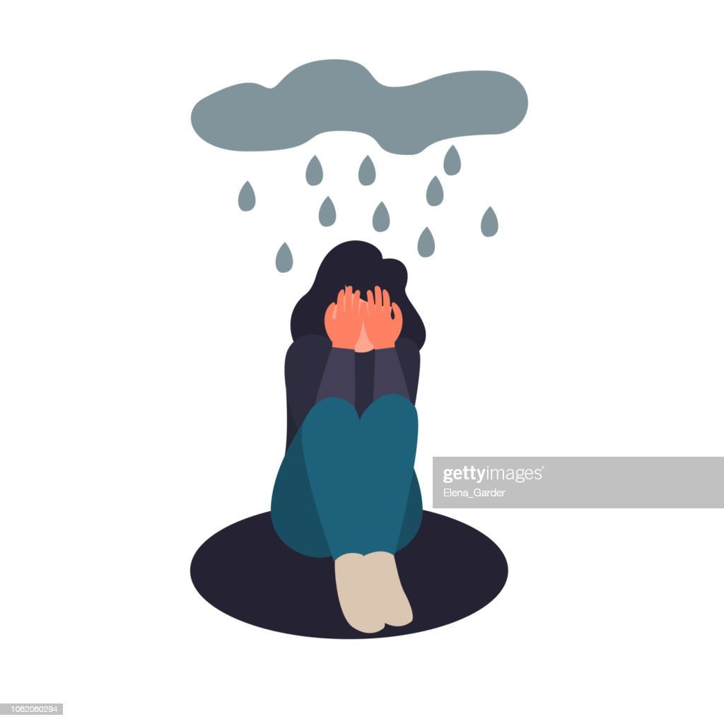 Depression woman sit on the floor. Depressed girl crying covering her face with her hands. Sad female flat character sits in the rain