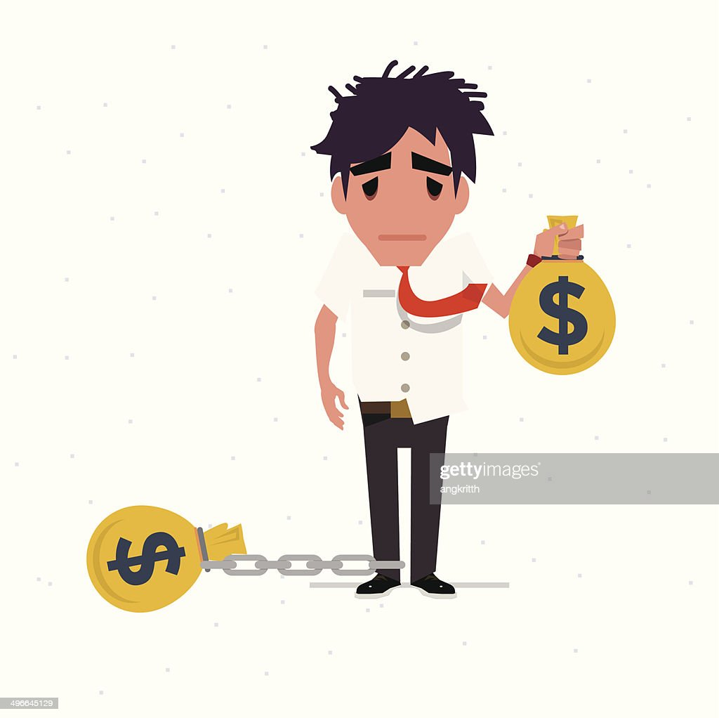 dept man to chain with money bag - vector illustration