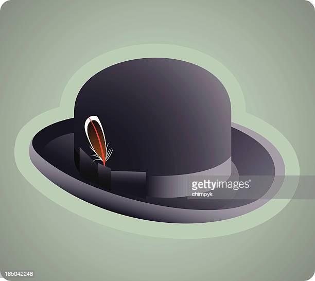 derby hat - gray hat stock illustrations