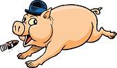 Derby Pig with Cigar