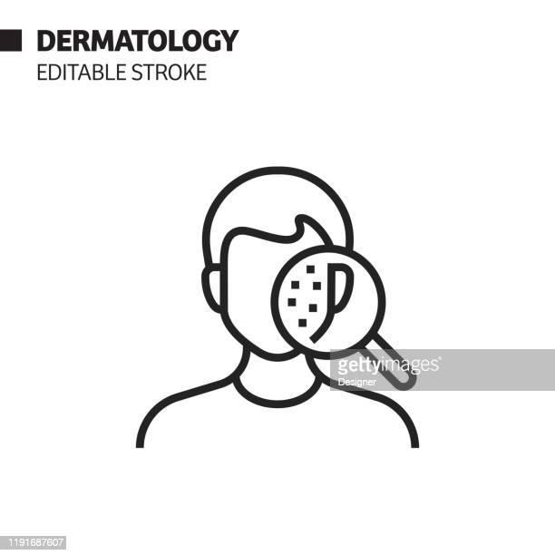 stockillustraties, clipart, cartoons en iconen met dermatologie lijn pictogram, overzicht vector symbool illustratie. pixel perfect, bewerkbare lijn. - huidkanker
