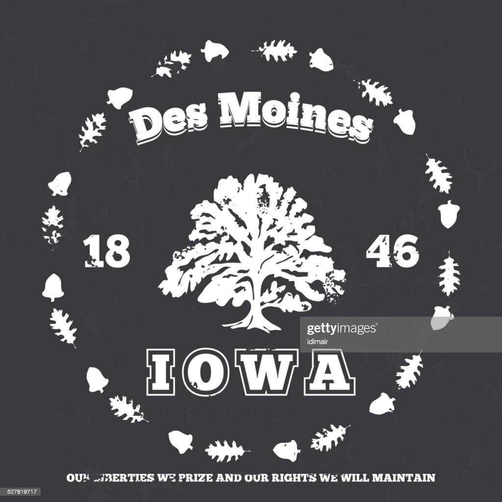 Des Moines, Iowa. grunge on separate layer