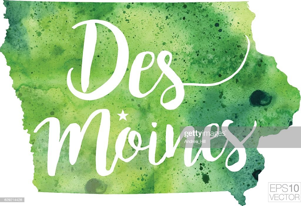 Des Moines Iowa Usa Vector Watercolor Map stock illustration - Getty on