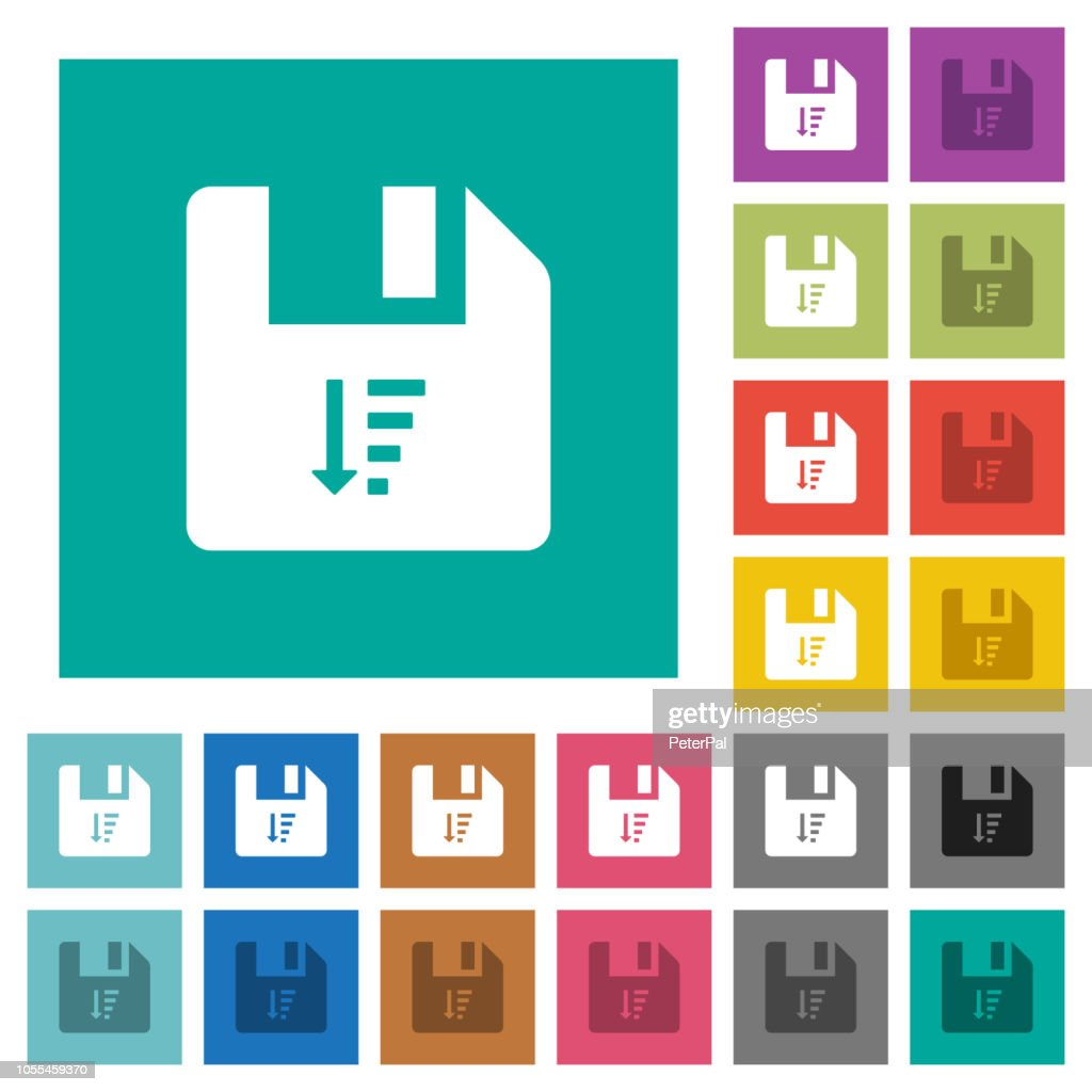 Descending file sort square flat multi colored icons