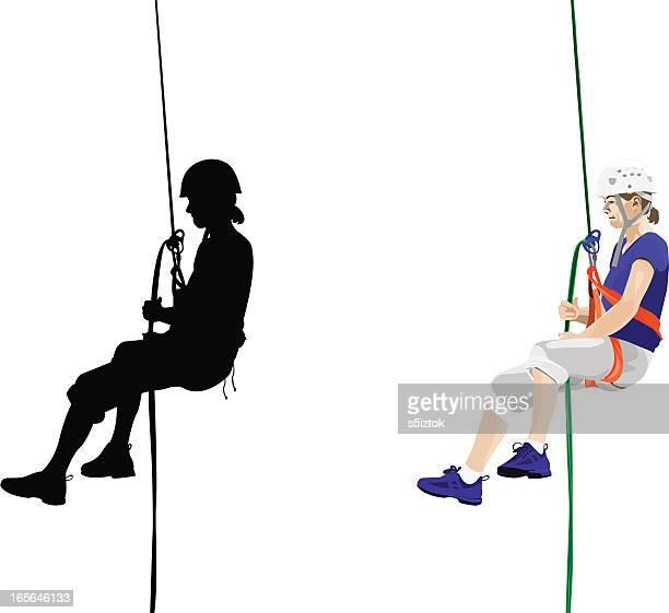descending on rope - rock climbing stock illustrations, clip art, cartoons, & icons