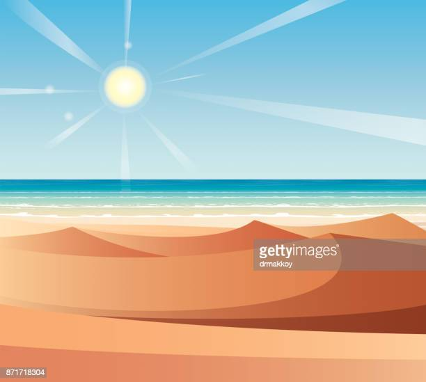 desert and sea - seascape stock illustrations