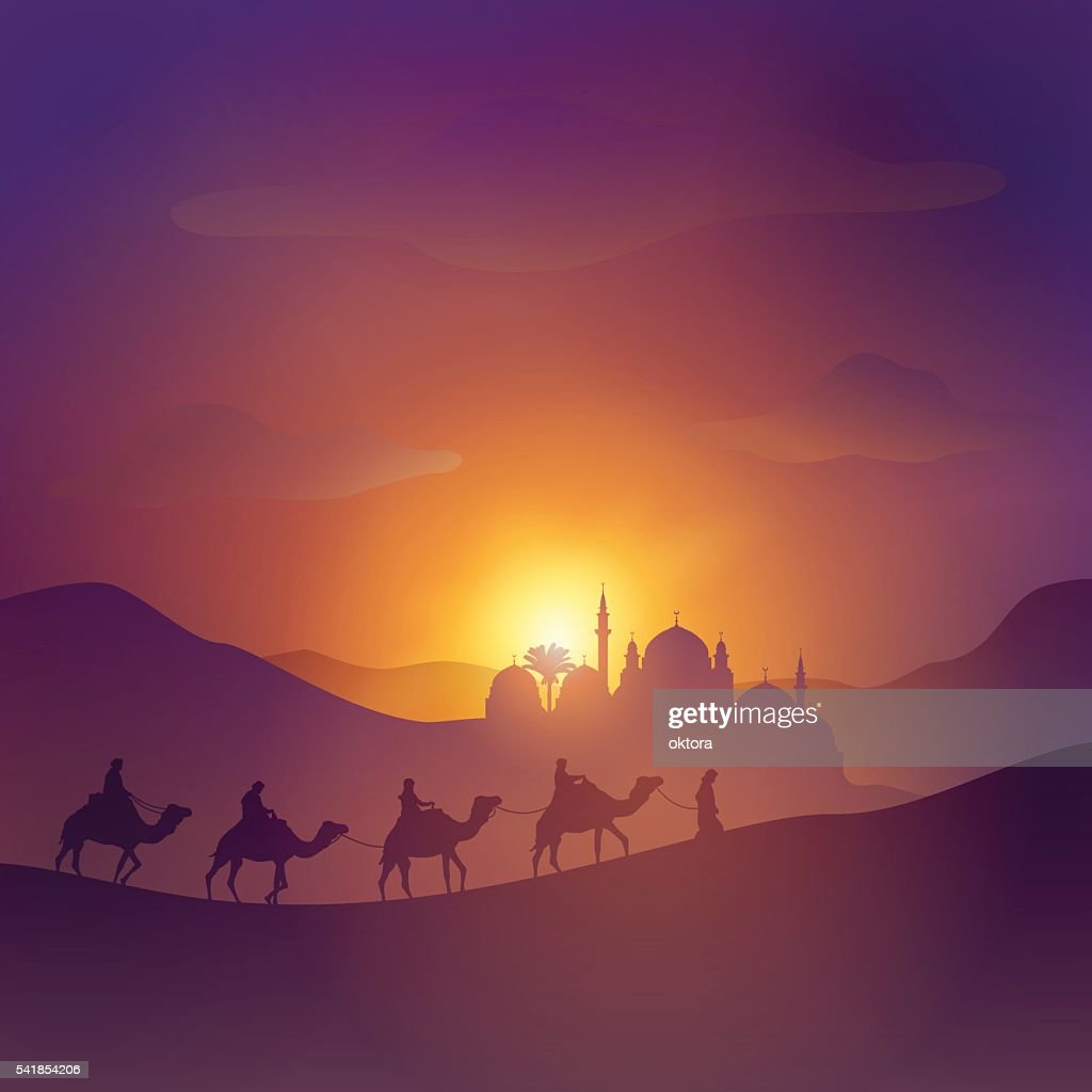 Desert arabic landscape illustration with mosque arabian and camel
