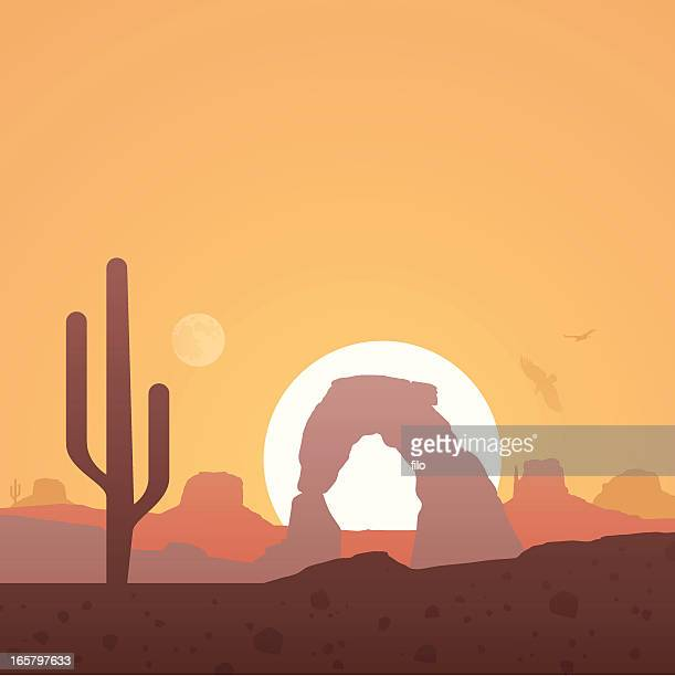 desert background - natural arch stock illustrations, clip art, cartoons, & icons
