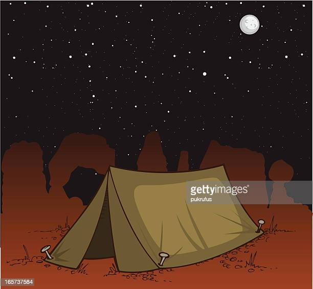 desert camping at night - natural arch stock illustrations, clip art, cartoons, & icons