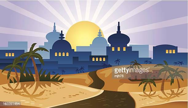 desert city - ancient civilization stock illustrations, clip art, cartoons, & icons