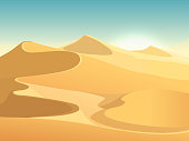 Desert dunes vector egyptian landscape background