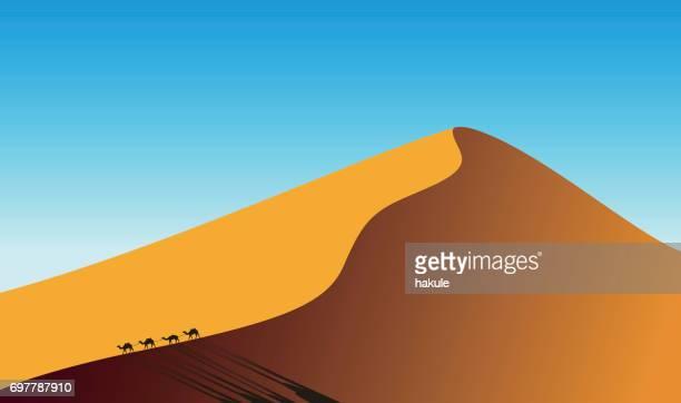 paisaje en el atardecer y camellos en las dunas del desierto, Ilustración de vectores