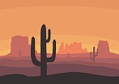 Desert landscape with cactus, hills and mountains silhouettes. Nature sunset on a background of a mountain landscape. Extreme tourism and travelling. Vector illustration