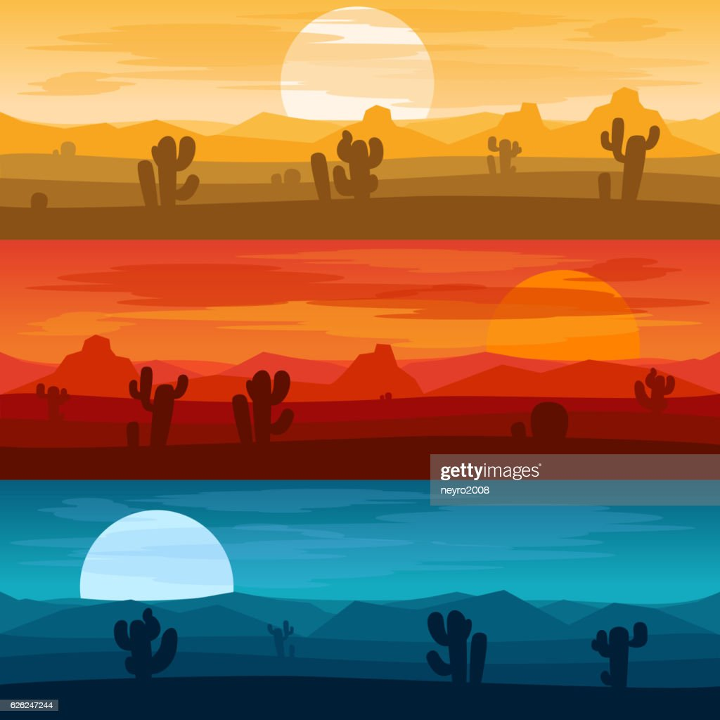 Desert mountains landscape days and at night vector backgrounds