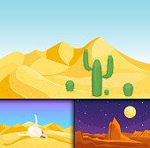 Desert mountains sandstone wilderness landscape background dry under sun hot dune scenery travel vector illustration