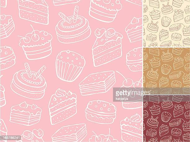 desert pattern with backgrounds in cream, tan, red and pink - sweet food stock illustrations