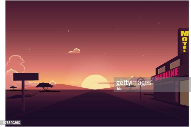 ilustraciones, imágenes clip art, dibujos animados e iconos de stock de paisaje de la carretera con motel y gasolina de la estación, del desierto al atardecer - puesta de sol