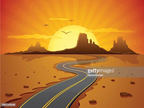 ilustraciones, imágenes clip art, dibujos animados e iconos de stock de carretera del desierto - puesta de sol