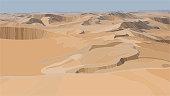 Desert sand dunes realistic vector illustration