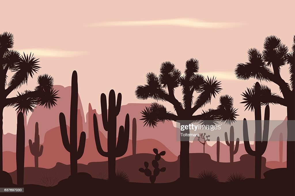 Desert seamless pattern with joshua trees and saguaro cacti.