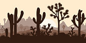 Desert seamless pattern with joshua trees, opuntia, and saguaro