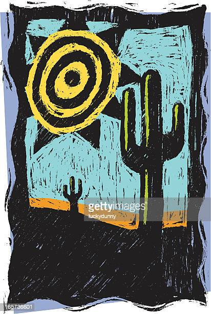 desert sun - woodcut stock illustrations, clip art, cartoons, & icons