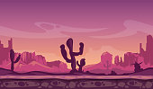 Desert wild cartoon landscape in sunset with cactus, hills and