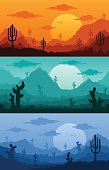 Desert wild nature landscapes vector illustration