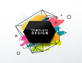Design abstract banner with a geometric background and texture of the spots and pattern. Template for presentation, brochure, flyer with polygonal frame and particles on backdrop.