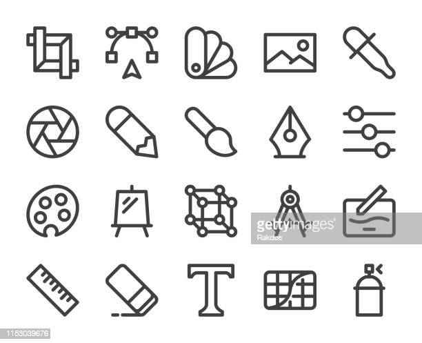 design and drawing - bold line icons - photo editor stock illustrations, clip art, cartoons, & icons