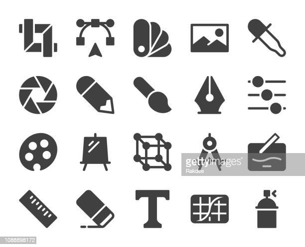 design and drawing - icons - photo editor stock illustrations, clip art, cartoons, & icons