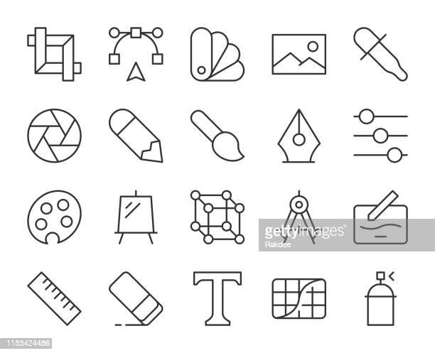 design and drawing - light line icons - photo editor stock illustrations, clip art, cartoons, & icons