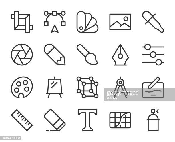 design and drawing - line icons - photo editor stock illustrations, clip art, cartoons, & icons