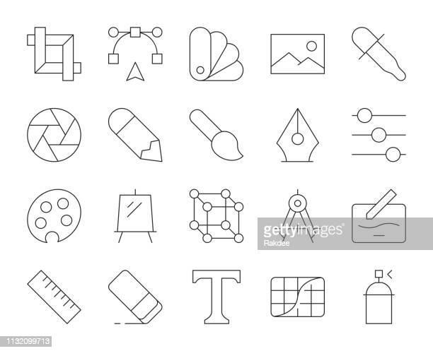 design and drawing - thin line icons - video editing stock illustrations, clip art, cartoons, & icons