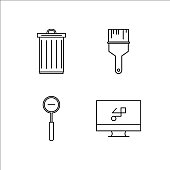 Design And Studio simple linear icon set.Simple outline icons