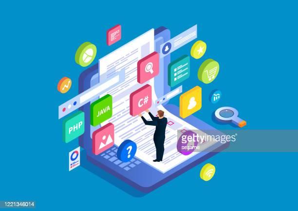 illustrazioni stock, clip art, cartoni animati e icone di tendenza di progettazione e test web dell'interfaccia utente, programmazione e codifica, analisi dei dati e ricerca - collezione