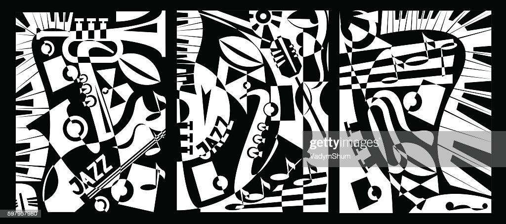 Design banner jazz music in retro geometric abstraction style. Triptych