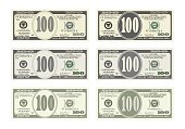 Design bill one hundred dollars in six options.