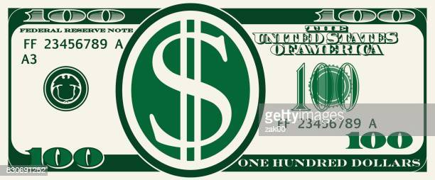 design bill one hundred dollars - us paper currency stock illustrations, clip art, cartoons, & icons