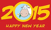 2015 Design Card With Sheep And Text